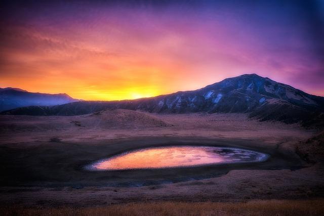 Japan, Aso Kumamoto Sunrise, Asahi, Red, Mountain, Snow