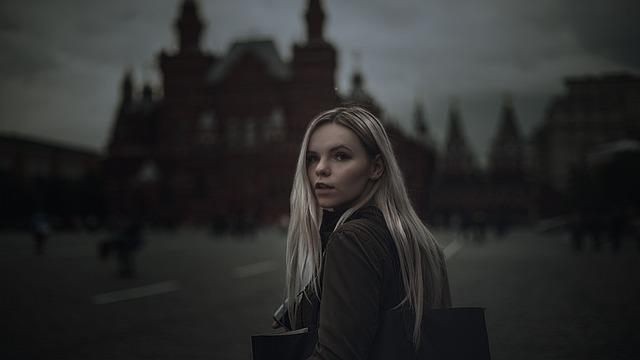 Girl, Red Square, Gloominess, Dark, Books, The Kremlin