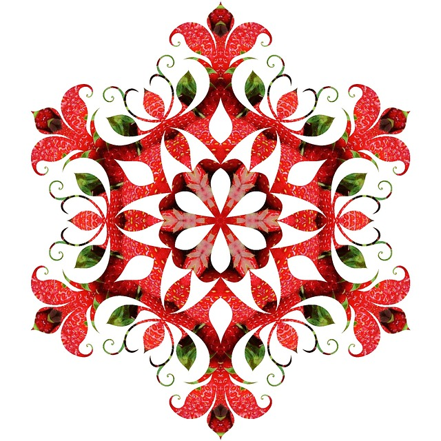 Mandala, Pattern, Ornament, Red, Strawberries