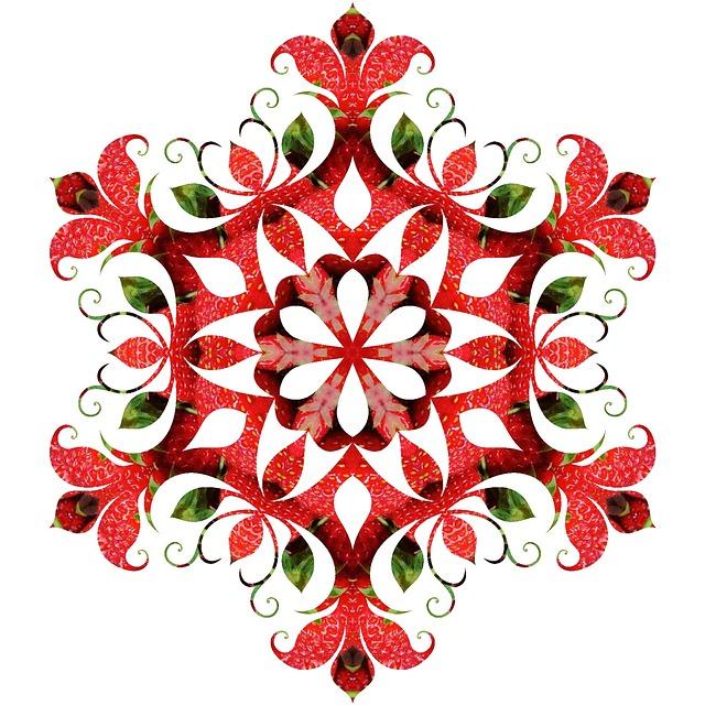 Mandala, Pattern, Ornament, Red, Strawberries