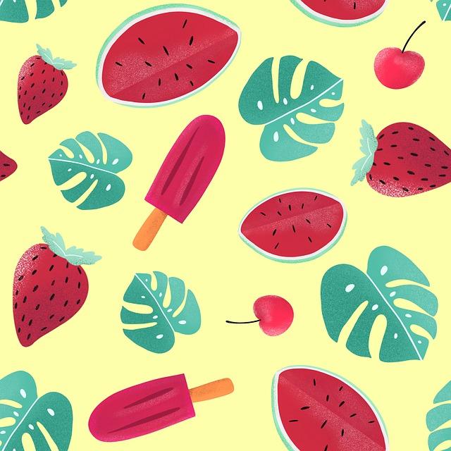 Watermelon, Leaves, Strawberry, Ice Cream, Cherry, Red