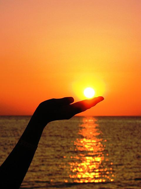 Sun, Hand, Finger, Light, Summer, Sea, Red, Sunset