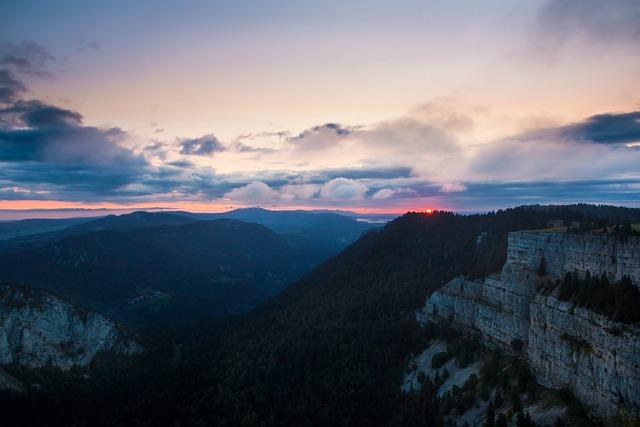 Sunrise, Silhouettes, Red Sun, Mysthisch, Cliff
