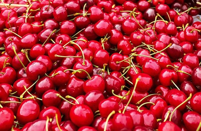 Cherries, Sweet Cherries, Heart Cherries, Fruit, Red
