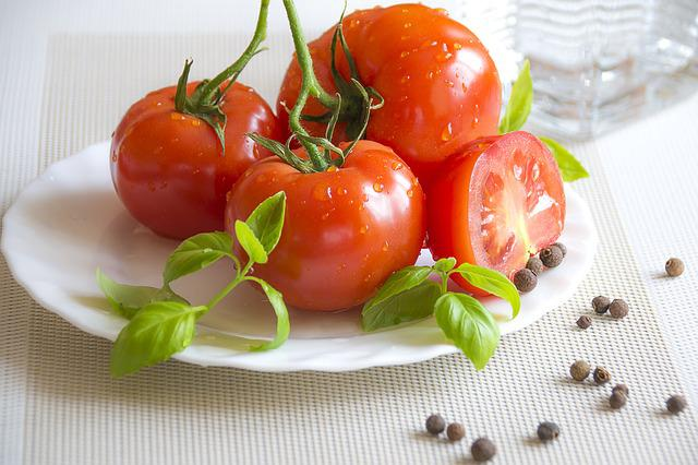 Summer Food, Healthy Appetizer, Red Tomatoes, Basil
