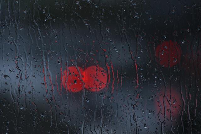 Rain, Window, Bokeh, Glass, Dark, Red