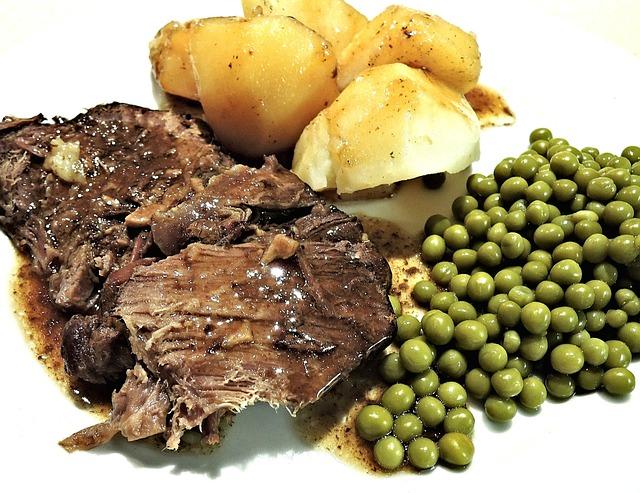 Roast Beef, Slow Cooked, Red Wine, Peas, Potatoes