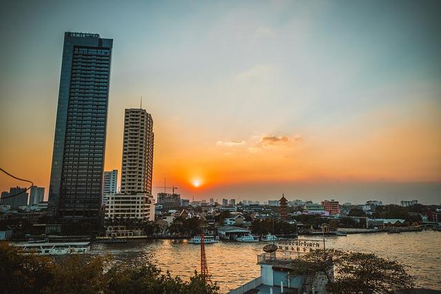 Sunset, Sun, City, Bangkok, Landscape, Red, Reddish