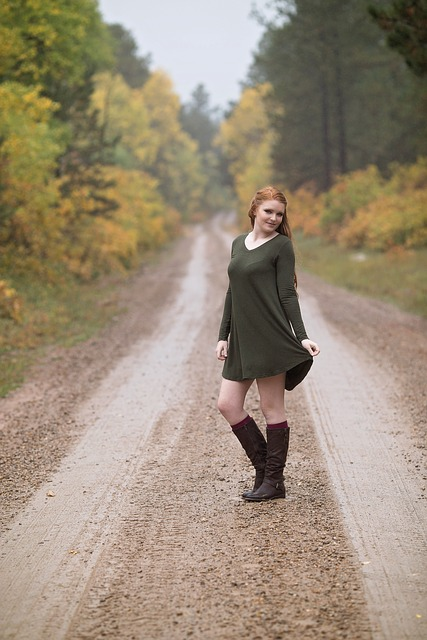 Redhead, Road, Outdoor, Fall, Female, Young, Dress