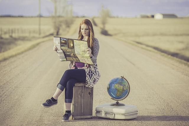 Girl, Redhead, Female, World, Globe, Road, Summer