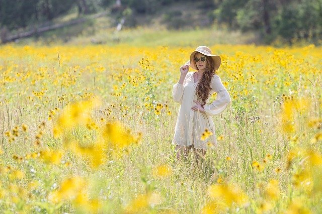 Yellow, Flowers, Summer, Glasses, Hat, Dress, Redhead