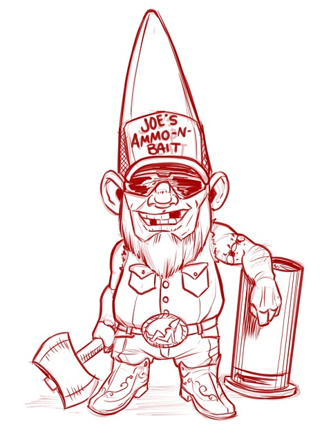 Gnome, Redneck, Axe, White Trash, Bubba, Drawing