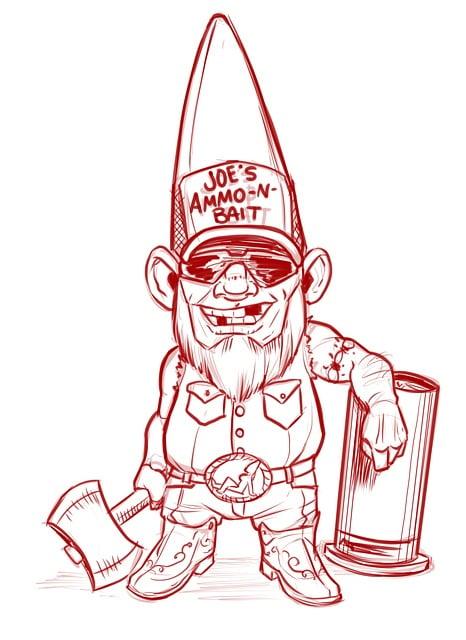 Gnome, Redneck, Axe, White Trash, Bubba, Drawing