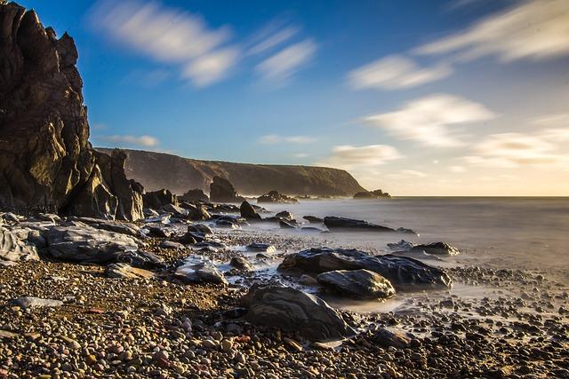 Coast, Reefs, Ocean, Wales, England