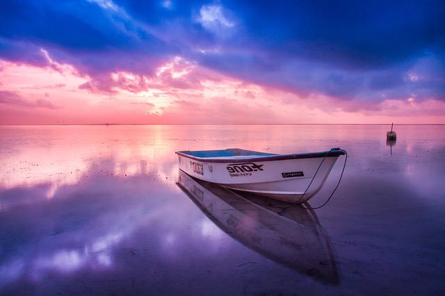 Beach, Boat, Dawn, Dusk, Nature, Ocean, Reflection