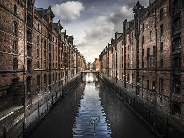 City, Buildings, River, Symmetry, Houses, Reflection