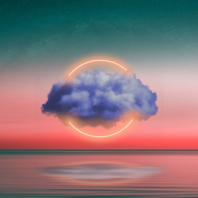Cloud, Stars, Ocean, Reflection, Neon Light, Circle