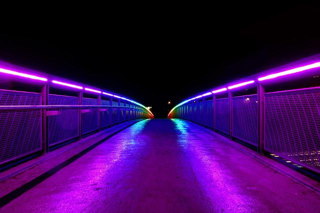 Bridge, Light, Color, Night, Reflection, Lighting