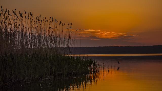 Sunset, Dawn, Water, Reflection, Lake, Landscape