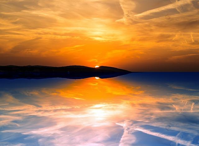 Evening, Reflection, Sunset, Sky, Sea, Clouds, Twilight