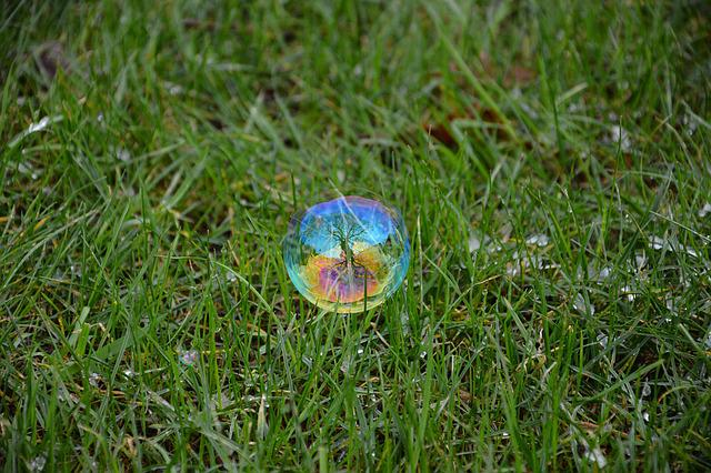 Grass, Tree, Reflection, Soap Bubble