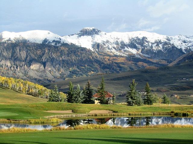 Mountain, Pond, Trees, Snow, Green, White, Reflection