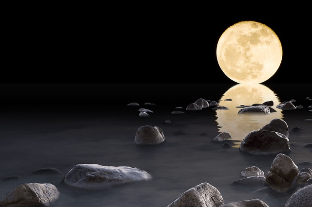 Luna, Water, Stones, Rock, Reflection, Horizon, Night