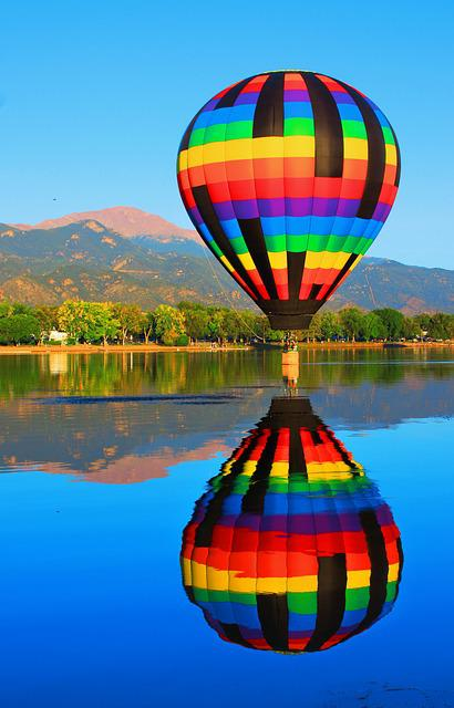 Hot Air Balloon, Reflection, Pikes Peak, Mountain