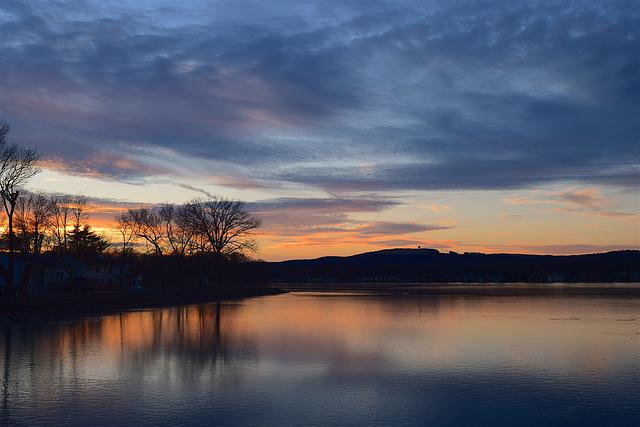 Lake, Sunset, Ice, Clouds, Trees, Nature, Reflection