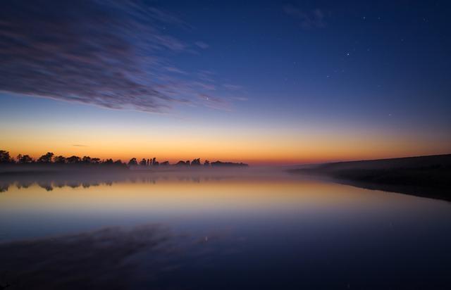 Night, Lake, Landscape, Reflection, Mirroring, Mood