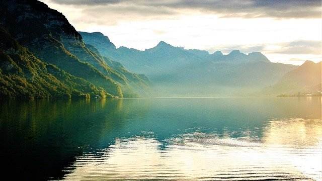 Lake, Morning, Haze, Scattering, Reflection, Mirror