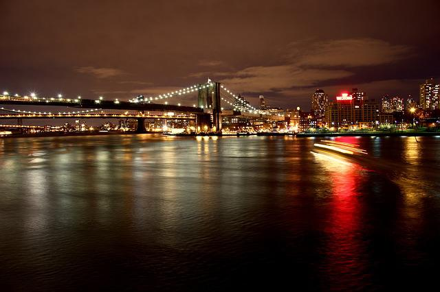 Night, Bridge, New York, Lights, Lighting, Reflection