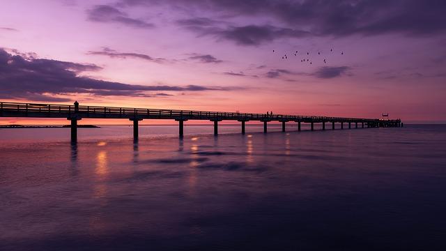Sunset, Waters, Dawn, Bridge, Pier, Sea, Reflection