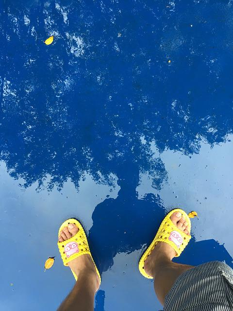 Reflection, Rain, Yellow, Flip Flop, Summer, Shadow