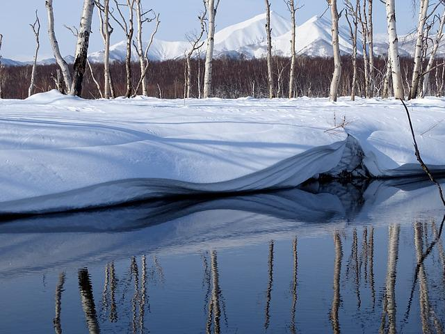 Winter, River, Mountains, Forest, Reflection, Snow