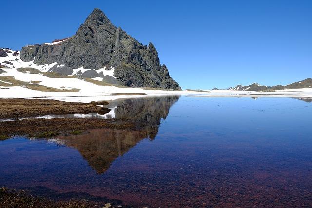 Pyrenees, Peak, Mountain, Reflection, Lake, Blue, Stone