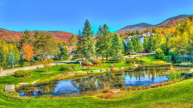 Vermont, Stowe, Foliage, Fall, Autumn, Pond, Reflection