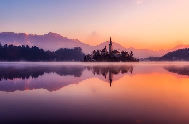Church, Lake, Sunset, Reflection, Water Reflection