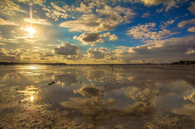 Low Tide, Reflection, Sea, Sunset, Poole, England