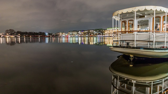 Waters, Reflection, Travel, Panorama, Sky, Alster
