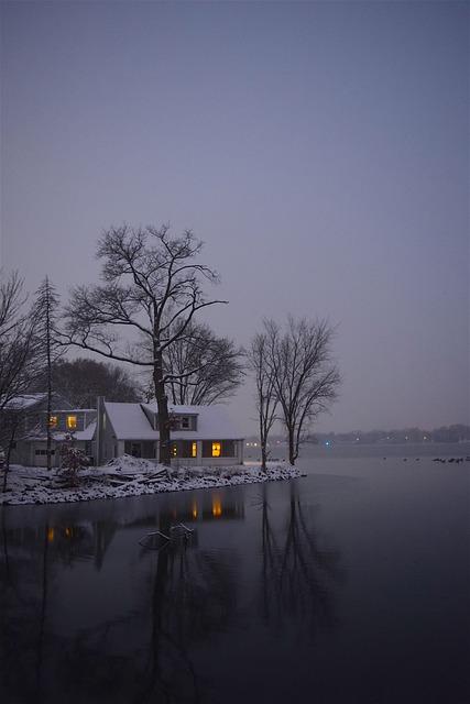 Lake, Snow, Tree, Winter, Light, Reflection, House