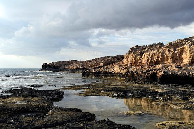 Rocky Coast, Sea, Sky, Clouds, Reflections, Nature