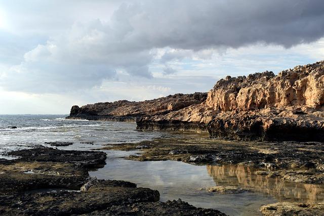 Rocky Coast, Sea, Sky, Clouds, Reflections, Nature