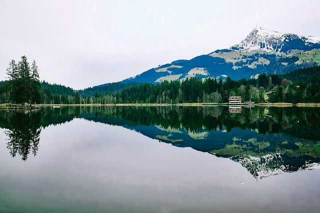 Austria, Lake, Reflections, Landscape, Mountains, Snow