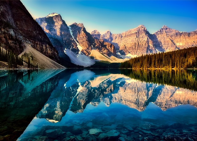 Moraine Lake, Reflections, Canada, Mountains, Snow