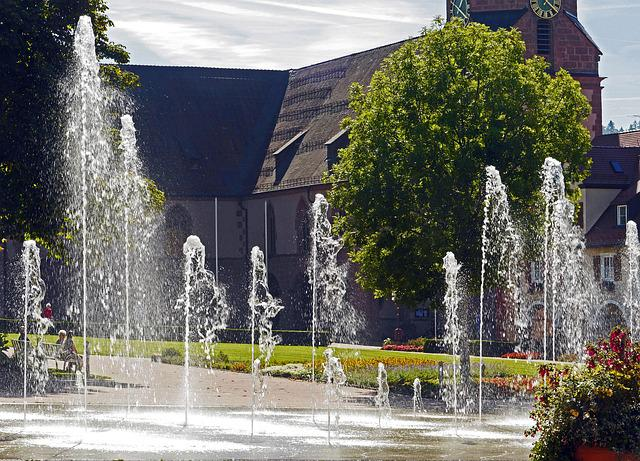 Fountains, Park, Summer, Refreshment, Cool, Plant