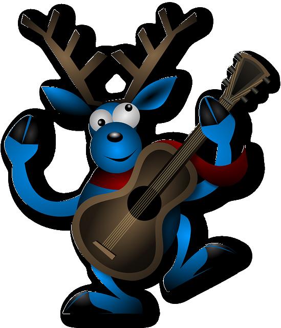 Reindeer, Dancing, Guitar, Instrument, Christmas, Noel