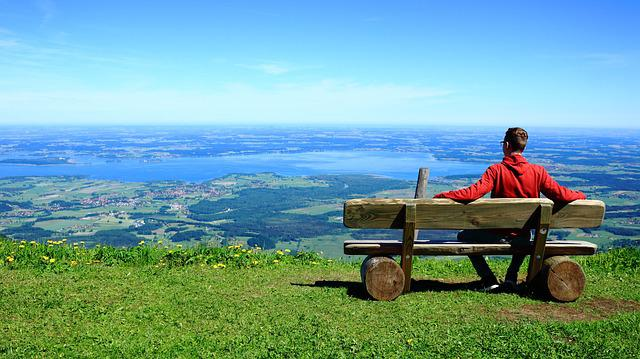 Person, View, Sit, Relax, Mountains, Valley, Horizon