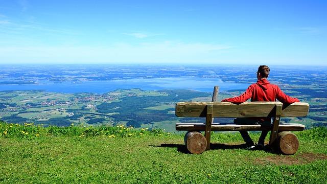 Person, View, Sit, Relax, Mountains, Valley, Horizon