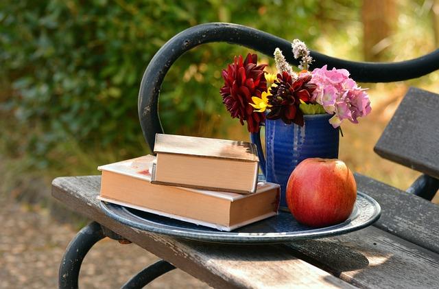 Books, Read, Bouquet, Relax, Bank, Still Life, Garden